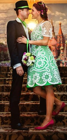 Russian informal wedding in Moscow. A  bridal dress consists of two parts: a…