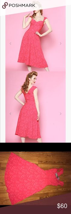 """💕Sale❤️NWT Bettie page coral swing """"holiday lace"""" NWT coral swing dress by Bettie page.  This dress is beautiful for a pinup retro rockabilly vintage look.  🍒 bettie page Dresses"""