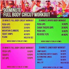 90 minute full body circuit workout --I just did ONLY the yellow part.. only 3 times, not 5. this workout is no joke!!