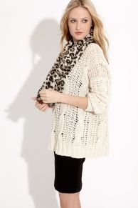 @Karen Kane Cable Tunic Sweater   Cheetah Snood   Structured Knit Pencil Skirt - Love this oversized sweater with a pencil skirt!