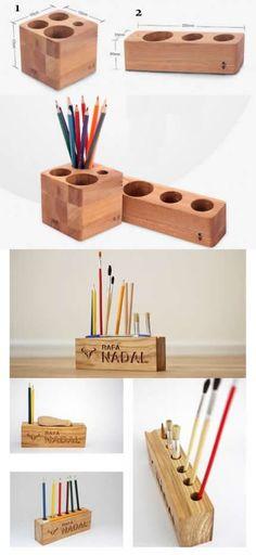 Bamboo Wooden Block Pen Pencil Holder Stand Makeup Organizer Ideas Office Desk Supplies Stationary Organizer #diywoodwork Diy Stationery Organizer, Stationary Organization, Pencil Holder, Pen Holders, Office Desk Supplies, Cool Stationary, Desk Inspiration, Desk Tidy, Bamboo Crafts