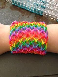 rainbow loom band it elastiekjes gekleurde haken brede armband cuff drakenschubben regenboog creatief knutselen Mar10=Creatief loom