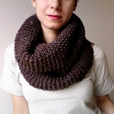 EDI Cowl by Alexandra Tinsley.  Chunky Merino yarn. Pearl Ten color.