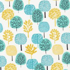 First Light Forest in Turquoise Eloise Renouf by FreshModernFabric