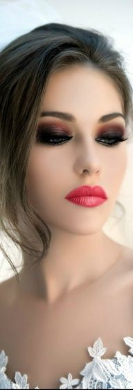 #weddinglook- bold and daring, red lips and smokey eyes. Put this on after…
