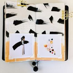 Ashley Goldberg art journal / scrapbooking page in Midori traveler's notebook