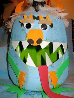 milk jug monster art: Glad Monster Sad Monster literacy link