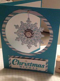 Weihnachtskarte mit freihängender Schneeflocke / Christmas Card with snowflake