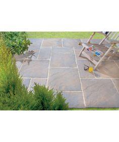 Riven paving slab charcoal 45 x 45cm pack of 56 paving for Garden decking tiles homebase