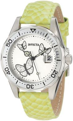 Invicta Women's 12516 Pro-Diver Silver Dial Crystal Accented Butterflies Light Green Leather Watch >>> Check out this great image
