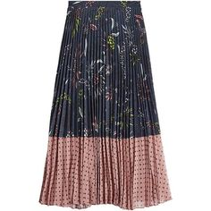 Markus Lupfer Printed Pleated Skirt ($455) ❤ liked on Polyvore featuring skirts, multicolored, patterned pleated skirt, full length skirt, floral skirt, multi colored skirt and pleated skirt