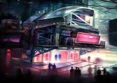 The Nightspot by KM33 | Cyberpunk Sci-fi Nightclub
