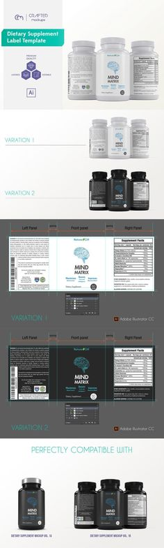 nutrition / dietary supplement design / dietary supplement label / dietary supplement label template / label design template / packaging design | By Crafted Mockups on @Creative Market #vitaminD #tagforlikes #vitaminC #F4F #tagforlikes #animals