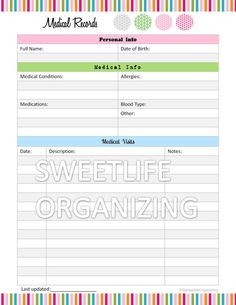 Medical Records Organizer  - Home Binder Organizing Printable Template - PDF Digital Instant Download