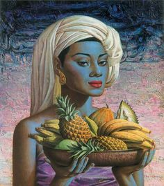 Rare Original Art Print - Fruits Of Bali by Vladimir Tretchikoff. From the collection of Vladimir Tretchikoff's beautiful folio of prints published by Howard Timmins, Vintage Art Prints, Fine Art Prints, Kitsch Art, Braun Design, South African Artists, Design Blog, Of Wallpaper, Black Art, Caricature