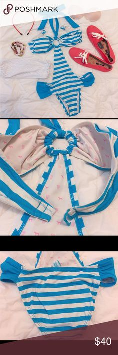 Victoria's Secret PINK striped monokini Victoria's Secret PINK monokini. Worn once for beach. Excellent condition. Blue and white striped pattern and VS PINK logo lining inside. Halter neck with blue ribbon. Size XS. There are some sand looking things on the bottom. I will send it with 3 🎁: bra pad, red headband and ZARA white mesh bandeau top. Feel free to ask any questions if you have. Thank you 😊 PINK Victoria's Secret Swim One Pieces