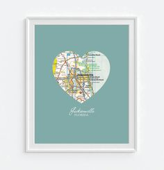 Jacksonville Florida Heart Vintage Map ART PRINT, Florida vacation beach art map print poster, gift for couple,wedding gift, All Sizes