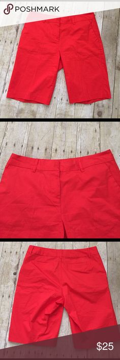 NAUTICA size 8 walking shorts in cherry red Just in NAUTICA cherry red walking shorts size 8 waist Is 16 inches across and length is 20 inches rise is 10 inches.  Cotton and spandex Nautica Shorts Bermudas