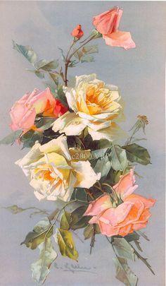 Victorian Roses Bouquet by Catherine Klein Art Floral, Floral Prints, Vintage Rosen, Vintage Art, Victorian Flowers, Vintage Flowers, Botanical Art, Botanical Illustration, Watercolor Flowers