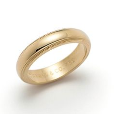 THE Wedding Band ring for me and my husband. Milgrain wedding band ring in 18k gold, 4mm wide.