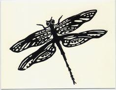 DRAGONFLY original linocut card by bluecicada on Etsy, $5.00