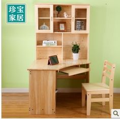 All Wood Desk Pine Bookshelf Combination Corner