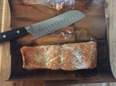 Cedar planked coho salmon.