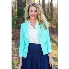 Ambition In Style Blazer-Mint - $44.00
