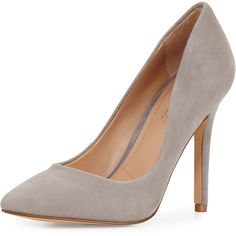 Charles David Pact Pointed-Toe 100mm Pump ($55) ❤ liked on Polyvore featuring shoes, pumps, light gray, suede pointy toe pumps, suede shoes, slip-on shoes, light grey pumps and suede pumps