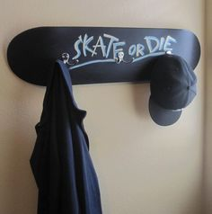 Chalkboard Coated Skateboard Coat Rack / Customizable by ronmoart, $55.00