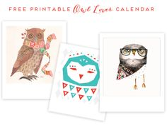 "Free Printable ""Owl Lover"" 2013 Calendar"