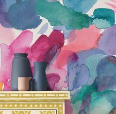 Sienna (Set of 2 x rolls) by bluebellgray - Multi - Wallpaper : Wallpaper Direct Watercolor Wallpaper, Watercolor Design, Watercolour, Bluebellgray, Sienna, Design Repeats, Wallpaper Samples, Pink Walls, Design Show