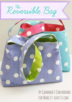 un nuovo tutorial, una borsa reversibile facile facile http://www.makeit-loveit.com/2014/04/the-reversible-bag-for-kids.html ...