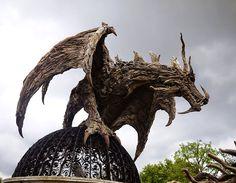 Driftwood Dragon Sculpture