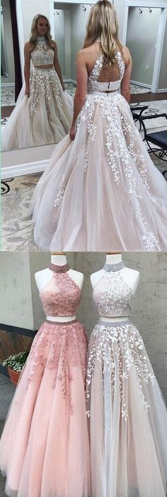 modest two piece pink prom dresses with beading, elegant evening gowns with appliques, unique open back grey party dresses