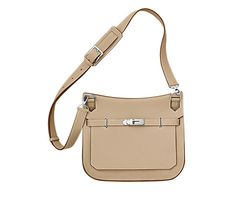 "Jypsière Hermes unisex shoulder bag in clay taurillon clemence leather (size 26) 11"" x 8.6"" x 5""Front flap closure with swivel clasp. Adjustable strap with 5 holes and a shoulder pad for comfort. Inside includes front zip pocket, back large pocket with gusset and small pocket for cell phone."