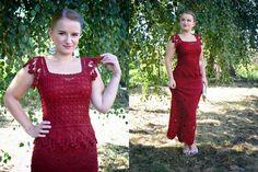 Red crochet top + skirt set.