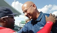 Terry Francona says hello to Big Papi during the 100th anniversary celebration.  What do you think was running through their minds?