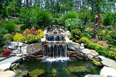 Spectacular water features provide the biggest wow factor your yard can have. Large koi ponds, beautiful waterfalls and aquatic gardens provide sounds and Backyard Water Feature, Ponds Backyard, Koi Ponds, Backyard Waterfalls, Garden Ponds, Landscaping With Rocks, Outdoor Landscaping, Living Pool, Building A Pond