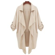 Solid Color Lapel Collar Pockets Trench Coat ($25) ❤ liked on Polyvore featuring outerwear, coats, collar coat, lapel coat, pocket coat, pink coat and trench coat
