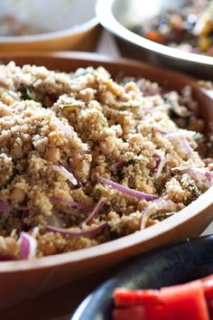 Quinoa and Chickpea Salad with Zucchini, Golden Raisins and Pine Nuts