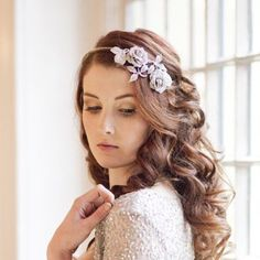 Vintage rose rhinestone side tiara and beautiful loose soft bridal curls with silver sequin shrug, by Victoria Mary Vintage with photography by Hannah Mia Photography