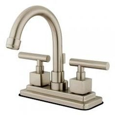 "Bathroom Faucets - Satin Nickel Regular price$ 123.47 Add to Cart Kingston Brass KS8668CQL Claremont Bathroom Faucets - Satin Nickel  Two Handle Deck Mount, 3 Hole Sink Application, 4"" Centerset, 3 hole 4"" center spread installation, Fabricated from solid brass material for durability and reliability, Premium color finish resist tarnishing and corrosion, 1/4 turn On/Off water control mechanism, 1/2"" IPS male threaded shank inlets, Ceramic disc cartridge, 2.2 GPM (8.3 LPM) Max at 60 PSI…"
