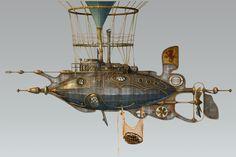 3d steampunk steam dieselpunk airship model