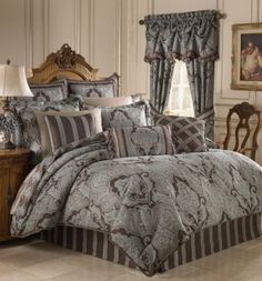 Croscill Bedding, Royalton Comforter Sets - Bedding Collections - Bed & Bath - Macy's - YES! King Size Comforter Sets, King Size Comforters, Aqua Comforter, Brown Comforter, Bedding And Curtain Sets, Bedding Sets, Curtains, Croscill Bedding, Boudoir