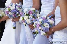 Wedding, Flowers, Bridesmaids, Roses, Hydrangea, Love in bloom, Lavender, Periwinkle