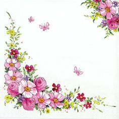4 x Single Luxury Paper Napkins for Decoupage and Craft Vintage Cute Flowers in Crafts, Cardmaking & Scrapbooking, Decoupage   eBay