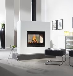 Natalie - another nice double sided log burner for study/diming room - Wanders Square tunnel double sided insert stove, Wanders stoves UK Log Burner Fireplace, Wood Burning Fireplace Inserts, Double Sided Fireplace, Fireplace Cover, Home Fireplace, Fireplace Remodel, Wood Burner, Modern Fireplace, Living Room With Fireplace