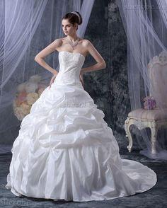 Spitze Dom Ärmelloses Satin Romantisches Brautkleid mit Applikation - Bild 1