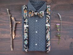 Suspenders and bow tie for men, Black suspenders set with pattern, Floral suspenders set, Wedding accessories, for groom, Shirt accessories by baboshkaa on Etsy